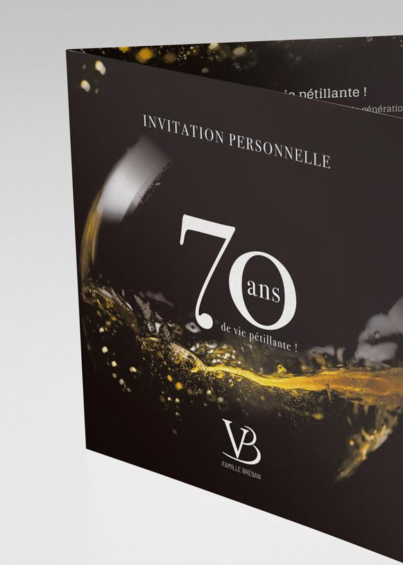 Couverture de l'invitation aux 70 ans des vins Bréban