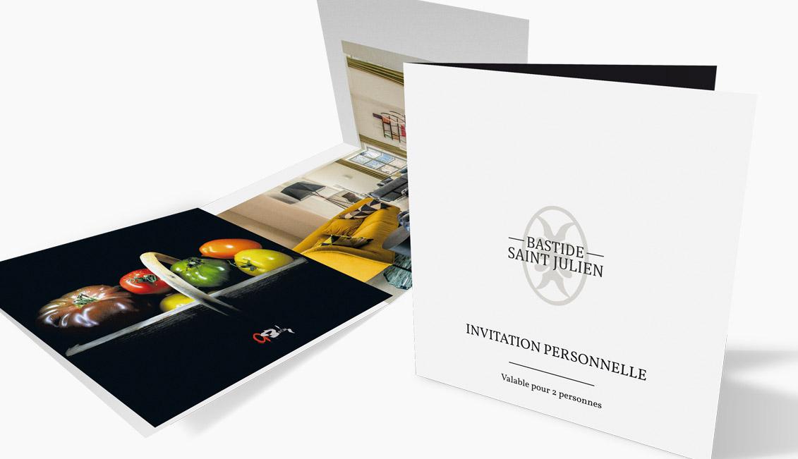 Invitation personnelle pour l'inauguration de la Bastide Saint Julien