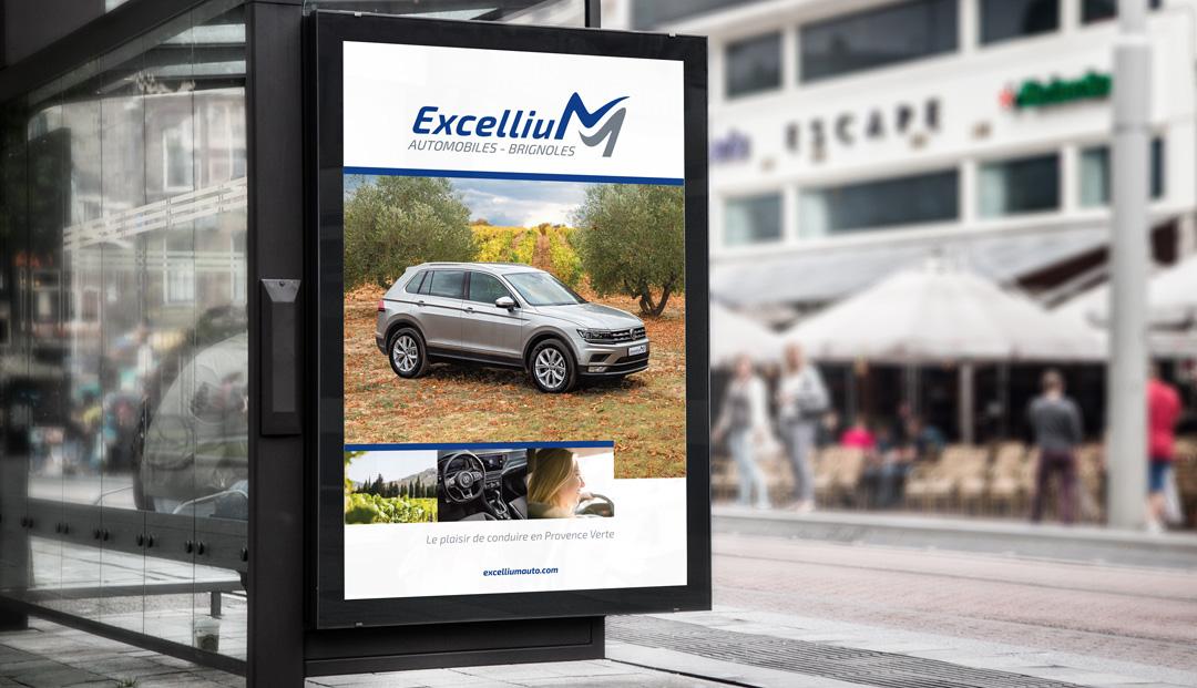 Publicité abribus pour Excellium / Millenium Automobiles